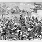 """De Jubuilee Am Come"" Black Americana celebrating the centennial 4th of July 1876 Harper's Weekly September 1876 Page 580 Parade; Holiday; Celebrations; Veterans; Bands"