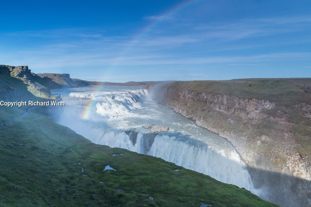 The waterfall of Gullfoss (golden waterfall), in the Thingvellir National Park, Iceland.