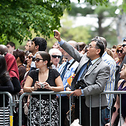 05/19/2013 - Medford/Somerville, MA - Parents and spectators vie for a glimpse of their graduates during Phase I of Tufts University's 157th Commencement on Sunday, May 19, 2013. (Emily Zilm for Tufts University)