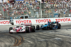 LONG BEACH, CA - APR 19: Indycar Driver Danica Patrick at turn 1 drives the #7 Motorola Andretti Green Racing Dallara Honda during the 35th Toyota Grand Prix of Long Beach. Photo by Eduardo E. Silva