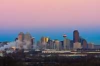 January 11, 2008 -- The Calgary skyline glows at sunrise.  Construction is rampant in the prairie city and is fuelled by the booming petroleum industry.
