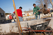 Boston College students spend their spring break volunteering with Habitat for Humanity and other community-based outreach organizations in Exmore, Virginia on Tuesday, March 6, 2012.