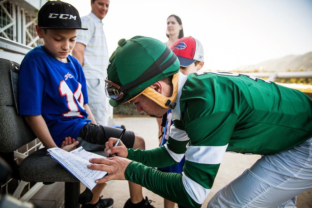 March 07 2015: Drayden Van Dyke celebrates his first GI win at Santa Anita Park in Arcadia CA. Alex Evers/ESW/CSM`