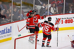 Jan 21, 2008; Newark, NJ, USA; The New Jersey Devils celebrate a goal by New Jersey Devils left wing Zach Parise (9) during the third period at the Prudential Center. The Devils defeated the Canadiens 5-2.