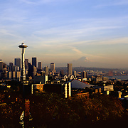 AA00002-01...WASHINGTON - A 1982 photo of the Seattle skyline at sunset from Queen Anne Hill with Mount Rainier in the distance.