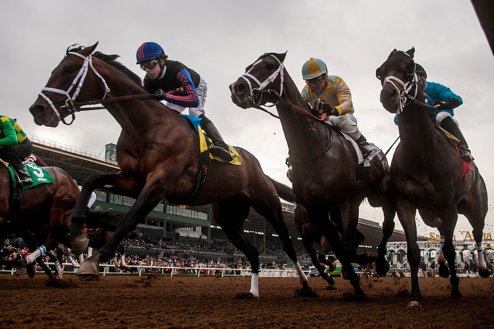 January 10 2014: Rock Shandy (left) Pioneer of the West and St. Joe Bay (right) battle for early position in the Sham Stakes GIII at Santa Anita Park in Arcadia CA. Alex Evers/ESW/CSM