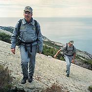 Forest rangers patrolling the island, navigation around the island and landing forbiten. Montecristo is the most distant island of the Tuscan Arcipelago form the Italian coast. It's a cone of granite with rugge valleys and peaks, the highest, Monte Fortezza is 654 meters. It has been a wildlife reserve since 1971. Federico Scoppa/CAPTA