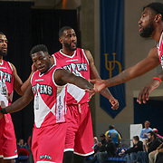 Delaware 87ers Guard NATE ROBINSON (1) celebrates a 113-111 win over Salt Lake City Stars with team mates Guard AARON HARRISON (15), Forward TERRENCE JENNINGS (7) and Forward ROSCOE SMITH (31)  Friday, March 17, 2017 at The Bob Carpenter Sports Convocation Center in Newark, DEL