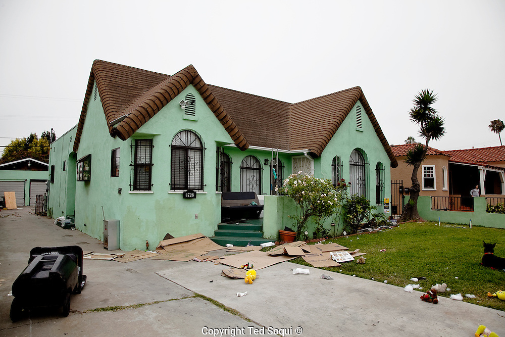 """Home of the """"Grim Sleeper"""" serial killer, Lonnie David Franklin Jr. located in South Central, L.A."""