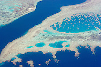 Aerial view of tropical coral reefs in Fiji.