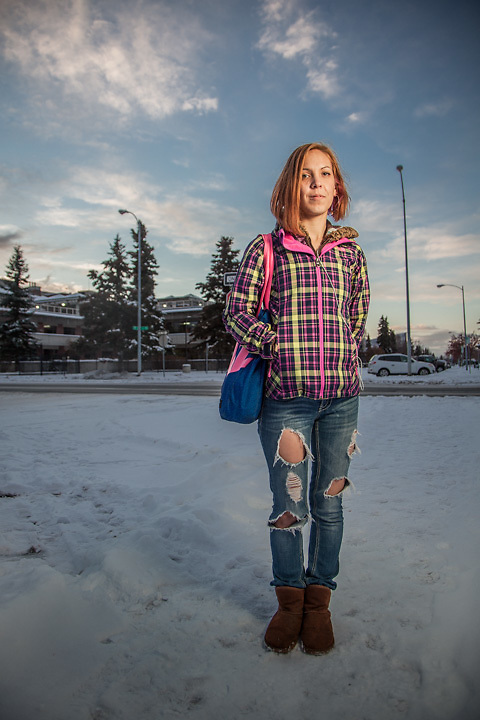 """Pre-school teacher and cancer survivor Cherie Kasgnoc on the Delaney Park Strip, Anchorage.  """"Cancer has taught me to take one day at a time and to not take life for granted…it can be taken in a heart beat.""""  ckasgnoc@gmail.com"""