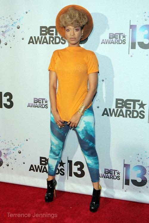 Los Angeles, CA-June 30:  Recording Artist Erykah Badu backstage at the 2013 BET Awards Winners's Room Inside held at LA Live on June 30, 2013 in Los Angeles, CA. ©Terrence Jennings