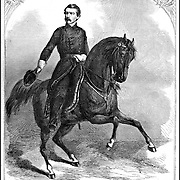 """Popular in the ealy days of the Civil War, Union Gerneral """"Little Mac"""" George B. McClellan on horseback . Harper's Weekly newspaper  Cover January 25, 1862  . He ran as the Democratic candidate for president in 1864 against Lincoln after being relieved of his command when he failed to act aggressively in the Peninsula Campaign."""