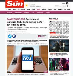 The Sun; NS&I saving s website on smart phone