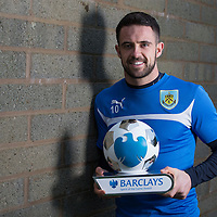 Football-Danny Ings Spirit of the Game Award-Burnley Training Ground-Pictures by Paul Currie-KEEP-Burnley's Danny Ings with his Barclays Spirit of the Game Award