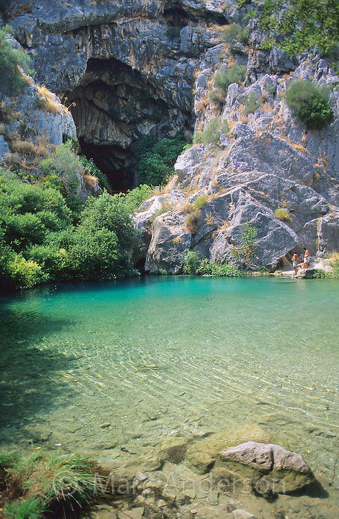 Beautiful natural pool outside the Cueva Del Gato (Cat Cave), Serrania de Ronda, Spain