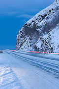 An early morning winter view of the Seward Highway just south of Anchorage.