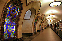 Novoslobodskaya Station, Moscow Metro.  For train lovers, the Moscow Metro is a showcase of individually designed subway stations.  This is Novoslobodskaya Station with its belle epoque stained-glass windows lighted from within.  As there is no tradition of stained glass windows in Russia, they were designed in Latvia and each window is different with vases overflowing with fantastic flowers, cooing pigeon windows and colored medallions.