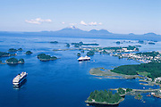 Alaska. Sitka. Aerial view of cruise ships and Mt Edgecumbe.