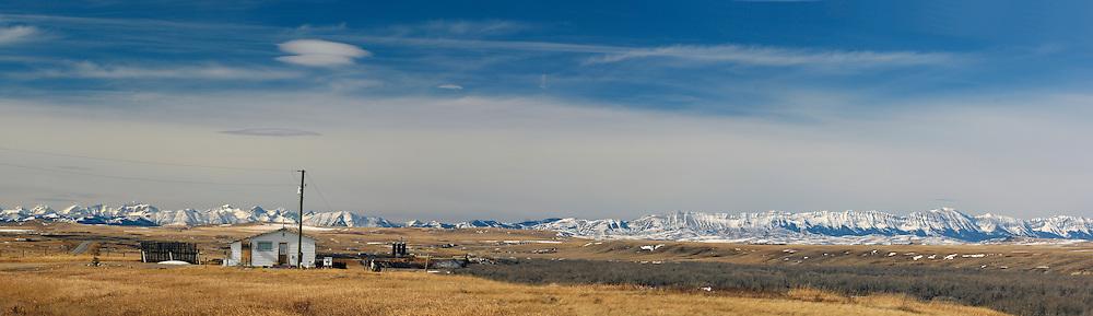 Piegan Indian Reservation, Rocky Mountains, winter, near Pincher Creek, Alberta, Canada.