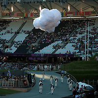 Fake clouds at the technical rehearsal for the Olympic Opening Ceremony for the 2012 Olympic Games, at the Olympic stadium, London, UK.
