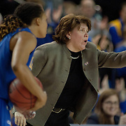 Delaware Women's Head coach Tina Martin signals an offensive play in the first half of a 2013 Round Two Women's NCAA tournament game against No. 3 North Carolina Tuesday, March 26, 2013, at the Bob Carpenter Center in Newark Delaware.