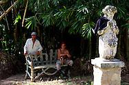 Workers and sculpture in Parque Nacional la Guira, Pinar del Rio Province, Cuba.