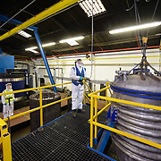 An industrial process taking place inside a factory