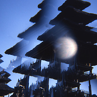 Temple 'pagoda' silhouette repeated in hallucinatory multi-prism effect