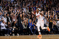 Jan 23, 2016; Phoenix, AZ, USA; Phoenix Suns guard Archie Goodwin (20) celebrates after making the game winning three point basket against the Atlanta Hawks in the second half at Talking Stick Resort Arena. The Suns won 98-95. Mandatory Credit: Jennifer Stewart-USA TODAY Sports