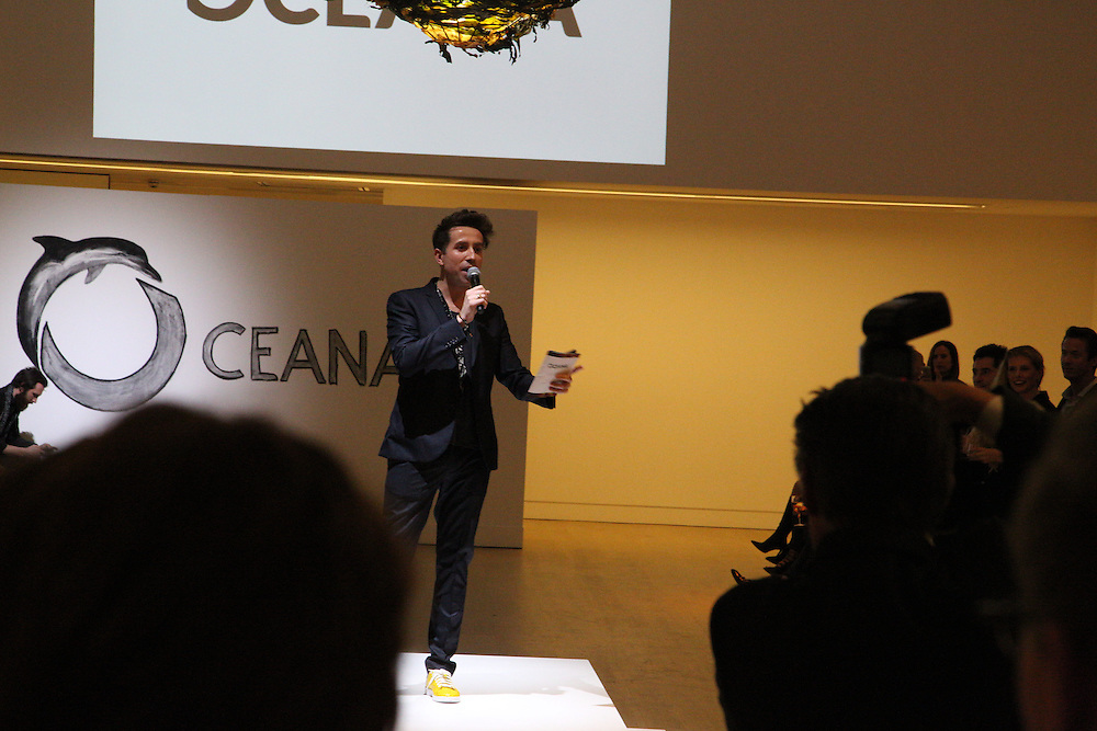 Presenter Nick Grimshaw on stage opening the Oceana Junior Ocean Council benefit Fashions for the Future'