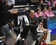 "Ole Miss vs. Georgia coach Andy Landers in women's basketball at the C.M. ""Tad"" Smith Coliseum in Oxford, Miss. on Sunday, February 24, 2013. Georgia won 73-54."