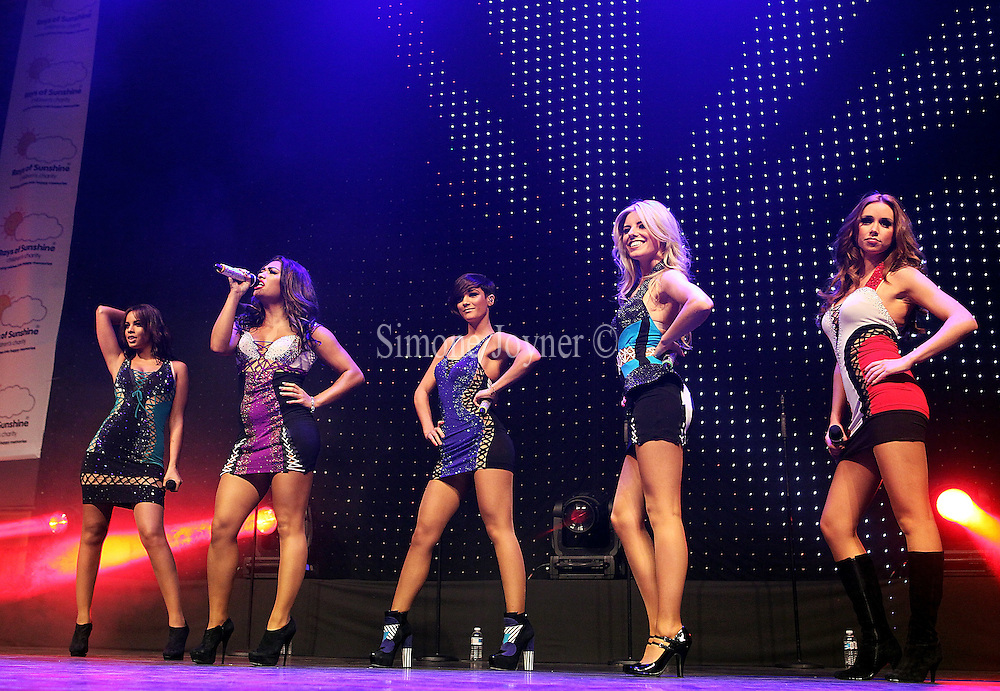 (L-R) Rochelle Wiseman, Vanessa White, Frankie Sandford, Mollie King and Una Healy of The Saturdays perform at The Sunshine Concert in aid of the 'Rays of Sunshine Children's Charity' at the Troxy on March 11, 2011 in London, England.  (Photo by Simone Joyner)
