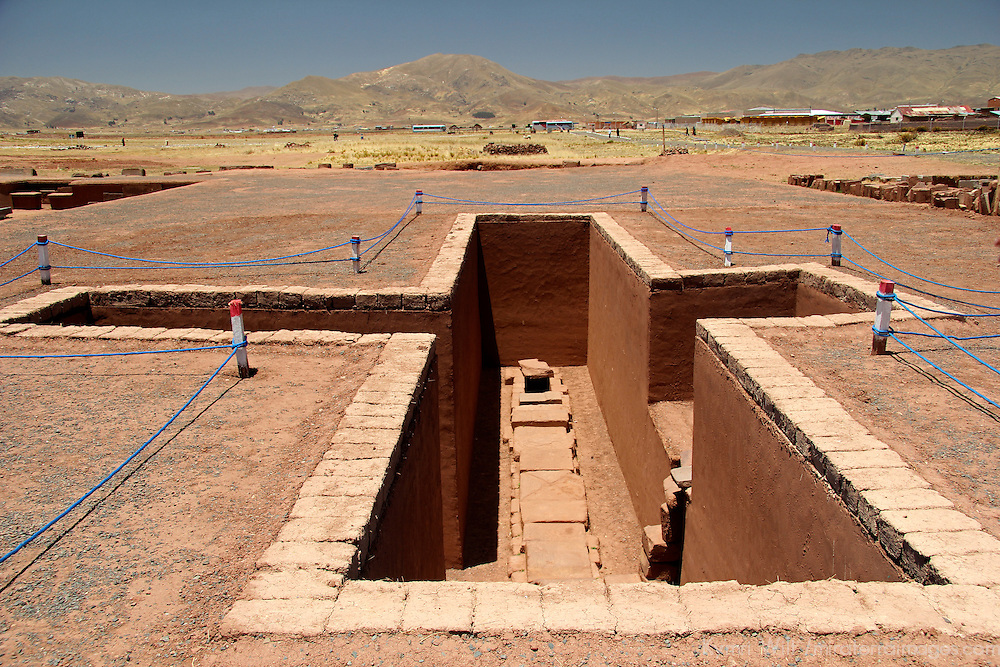South America, Bolivia, Tiwanaku. Pit at Pre-Columbian archaeological site of Tiwanaku, a UNESCO World Heritage Site.