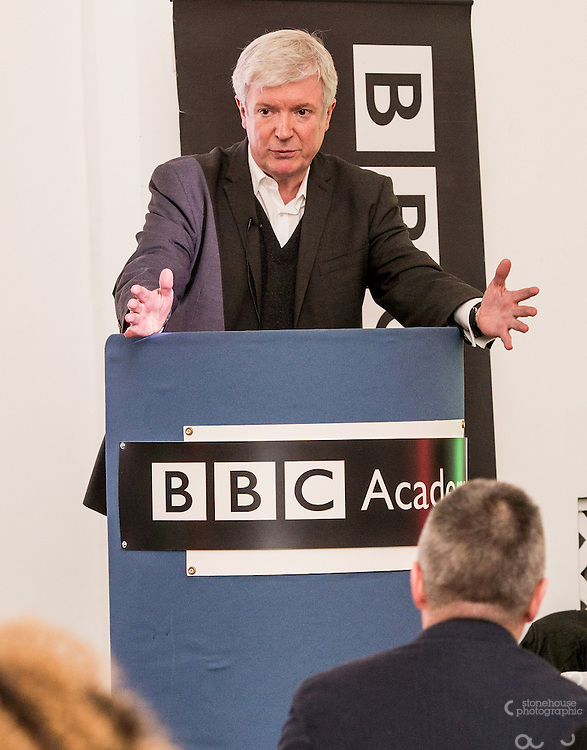 BBC DG Lord Tony Hall speaking at the BBC Academy Local Apprenticeship Scheme Awards 2016 at The Custard Factory, Old Library, Birmingham, 24th, February.2016