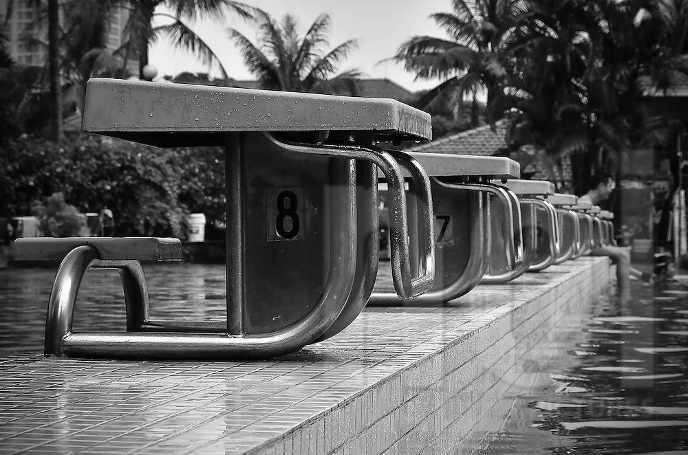 View of the diving boards at the Sao Mai swimming-pool in Hanoi, after the rain.