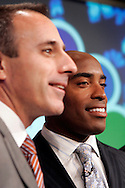 """Former New York Giants running back Tiki Barber speaks to members of the media with co-host Matt Lauer(L) as he is introduced as a news correspondent for NBC's """"The Today Show"""" in New York, February 13, 2007. Barber will also be a sports analysts for NBC's """"Football Night in America""""."""