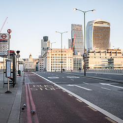 London, UK - 25 December 2014: London Bridge bus stop in London on early Christmas morning.