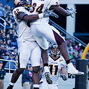 Central Michigan TE (#82) David BLACKBURN celebrates with teammate RB (#34) Zurlon Tipton after BLACKBURN scored Central Michigan first touchdown on a brisk Saturday afternoon at Marine Corps Memorial Stadium in Annapolis Maryland.<br /> <br /> Navy improves to 7-3, Navy will return home November 20 to face Arkansas State.