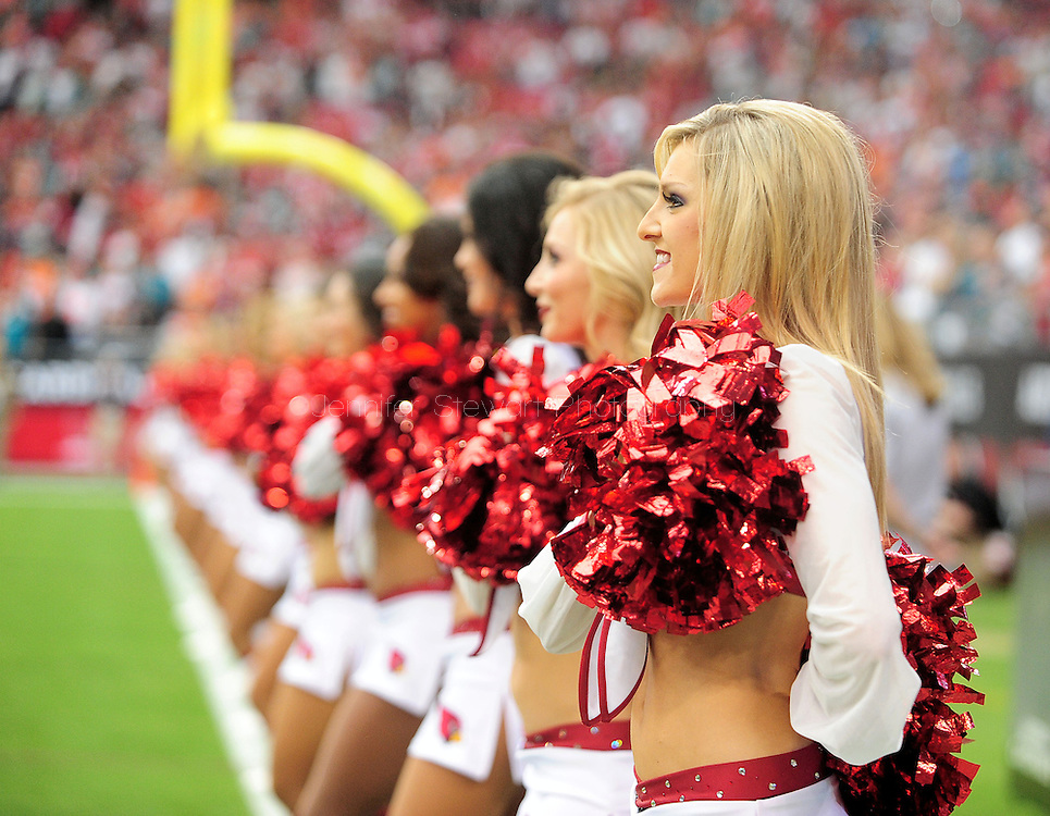 Sept. 30, 2012; Glendale, AZ, USA; Arizona Cardinals cheerleaders reacts at University of Phoenix Stadium. Mandatory Credit: Jennifer Stewart-US PRESSWIRE.