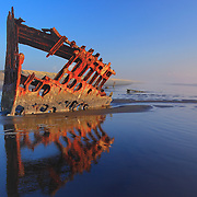 Peter Iredale Shipwreck Reflection Wide - Sunset - Oregon Coast - HDR