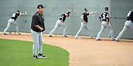 GLENDALE, ARIZONA - FEBRUARY 18:  Manager Rick Renteria #17 of the Chicago White Sox looks on during spring training workouts on February 18, 2017 at Camelback Ranch in Glendale Arizona.  (Photo by Ron Vesely)   Subject:  Rick Renteria