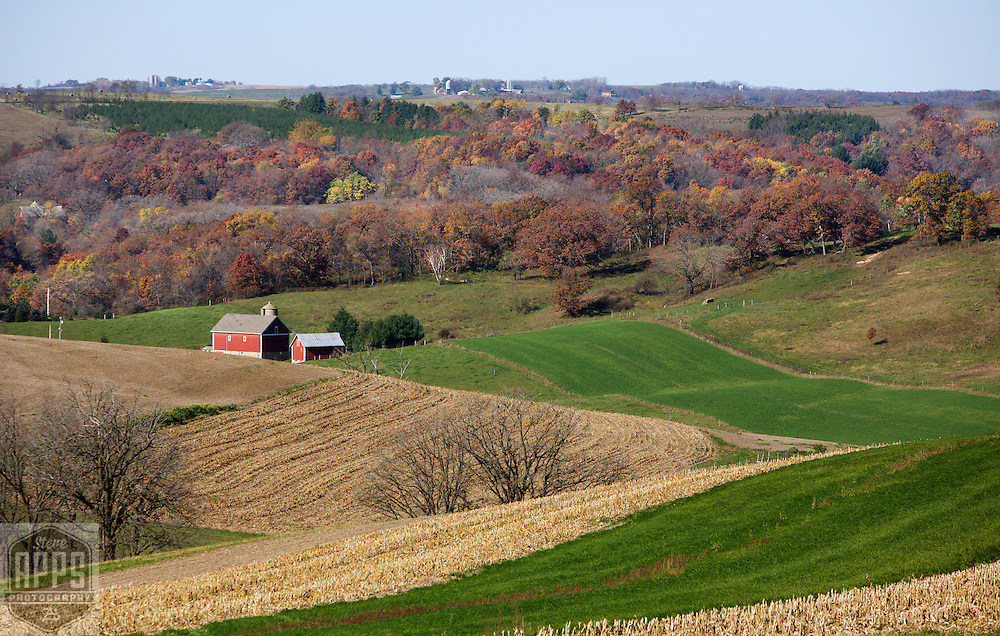 A collection of Barns that still can be seen while traveling the countryside in  the beautiful State of Wisconsin.<br /> Iowa County- Farm and valley from County Road A, east of Hollandale. Barns from around the State of Wisconsin.