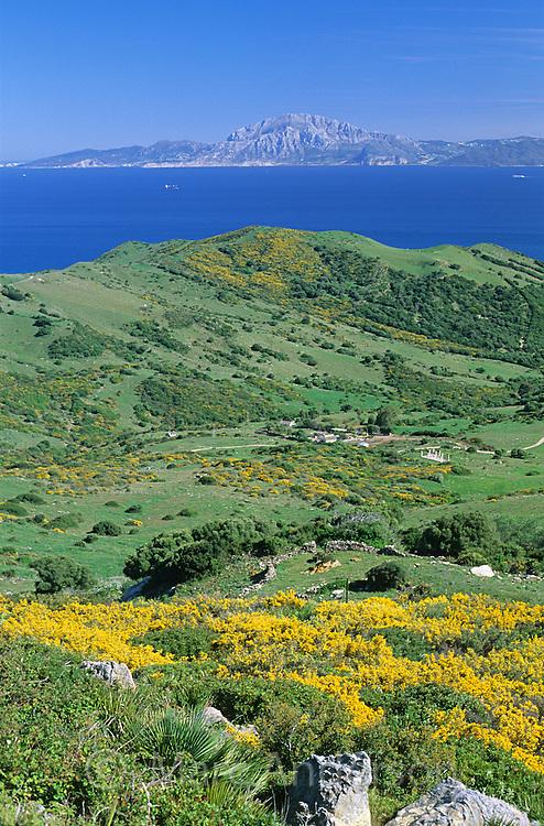 View of Morocco across the Strait of Gibraltar (Estrecho de Gibraltar), from a lookout near Tarifa, Spain