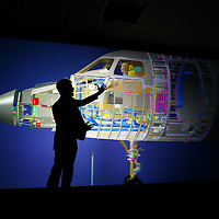 Presentation of the 3D  Katia engineering software used to design the Falcon 7X at the Dassault HQ . Saint Cloud, O7 April 2008..© Etienne de Malglaive