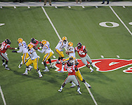 Mississippi's Lavon Hooks (45) sacks LSU's Zach Mettenberger(8) at Vaught-Hemingway Stadium in Oxford, Miss. on Saturday, October 19, 2013. (AP Photo/Oxford Eagle, Bruce Newman)