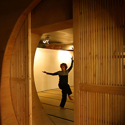 Nathalie Cherfane, an artist, is seen studying Tai Chi in Beirut, Lebanon, March 18, 2005.