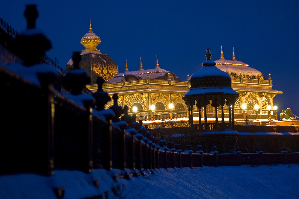 The Hare Krishna Palace of Gold near Moundsville, West Virginia covered in snow on February 22, 2008.
