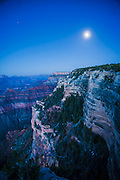 Moonrise over the canyon, Grand Canyon South Rim, Arizona