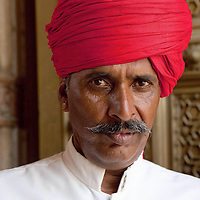 Man with red turban, Jaipur, India